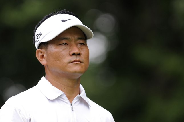 K.J. Choi watches his drive off of the 14th tee box during the final round of the AT&T National hosted by Tiger Woods at the Congressional Country Club in Potomac, Maryland on July 6, 2008. (UPI Photo/Kevin Dietsch)