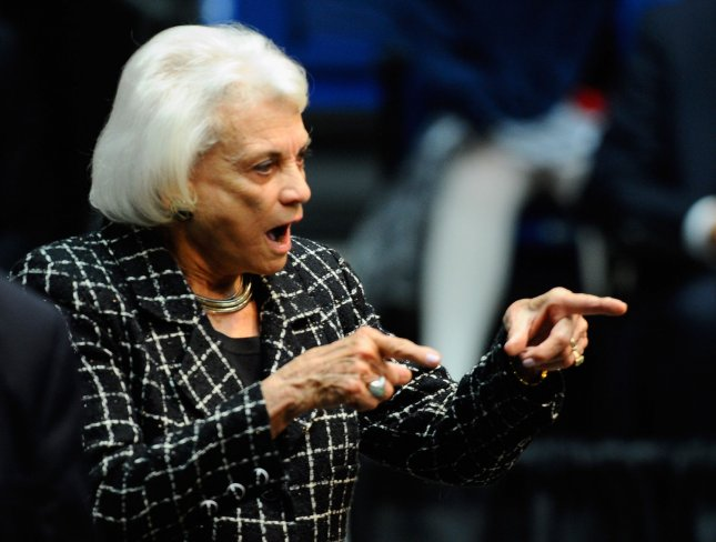 Former Supreme Court Justice Sandra Day O'Connor attends the event Together We Thrive: Tucson and America honoring the January 8 shooting victims at McKale Memorial Center on the University of Arizona campus on January 12, 2011 in Tucson, Arizona.The memorial service is in honor of victims of the mass shooting at a Safeway grocery store that killed six and injured at least 13 others, including U.S. Rep. Gabrielle Giffords (D-AZ), who remains in critical condition after being shot in the head. Among those killed were U.S. District Judge John Roll, 63; Giffords' director of community outreach, Gabe Zimmerman, 30; and 9-year-old Christina Taylor Green. UPI/Kevork Djansezian/Pool