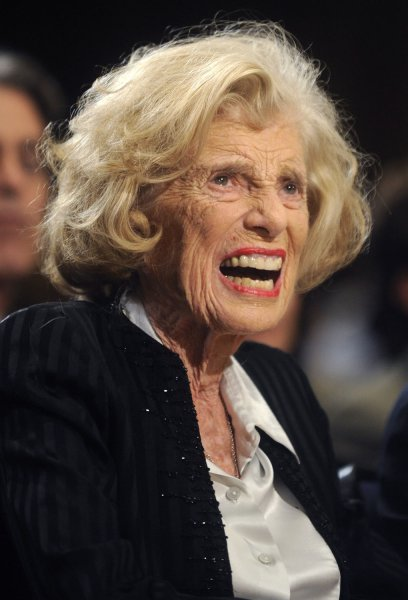 Eunice Kennedy Shriver, founder and chairperson of the Special Olympics, died at at a Cape Cod hospital in Hyannis, Massachusetts on August 11, 2009. She was 88 and the sister of President John F. Kennedy, Senator Ted Kennedy, and mother of Maria Shriver, the first lady of California. She is shown in March 3, 2008 file photo as she is inducted into the National Institute of Child Health and Human Development (NICHD) Hall of Honor. UPI/Kevin Dietsch/Files