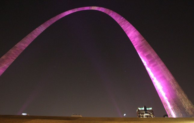 The Gateway Arch is lit in pink as seen from the grand staircase in St. Louis on October 5, 2012. The Arch is only seen in pink one night a year to bring attention to Breast Cancer Awarness Month. UPI/Bill Greenblatt