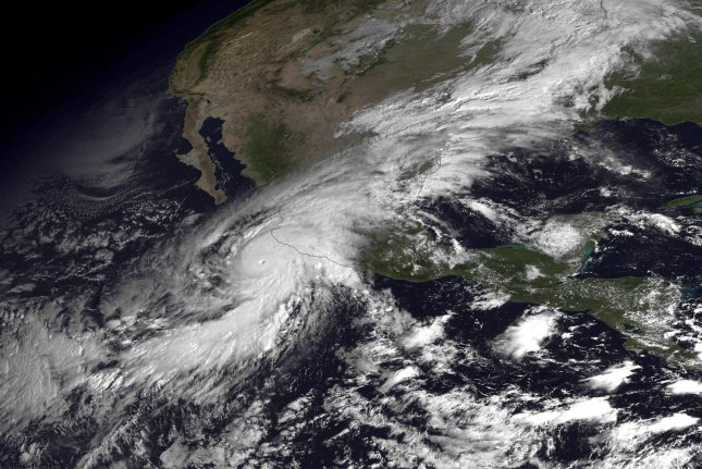This NOAA satellite image shows the eye of Hurricane Patricia on October 23, 2015. Patricia has became the most powerful hurricane ever measured in the Western Hemisphere on Friday with maximum sustained winds reached an 200 mph. Patricia made landfall in Mexico Friday evening. Photo by NOAA/UPI