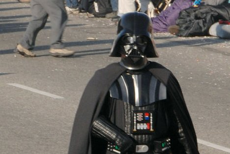 A Darth Vader statue, in costume similar to the parade performer above, has been erected in place of a monument of Soviet-era leader Vladimir Lenin in Ukraine ahead of the release of 'The Force Awakens.' File Photo by Jim Ruymen/UPI