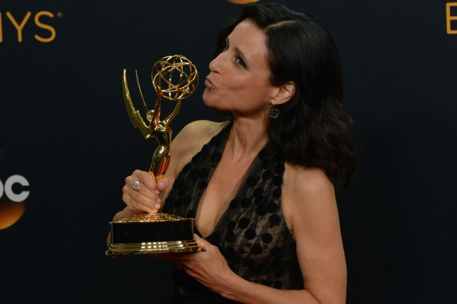 Actress Julia Louis-Dreyfus appears backstage with her award for Outstanding Lead Actress in a Comedy Series for 'Veep' during the 68th annual Primetime Emmy Awards at Microsoft Theater in Los Angeles on September 18, 2016. Photo by Christine Chew/UPI
