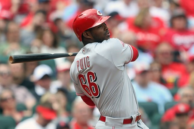 Former Cincinnati Reds outfielder Yasiel Puig had a .267 batting average with 24 home runs and 84 RBIs in 149 games last season with the Reds and Cleveland Indians. File Photo by Bill Greenblatt/UPI