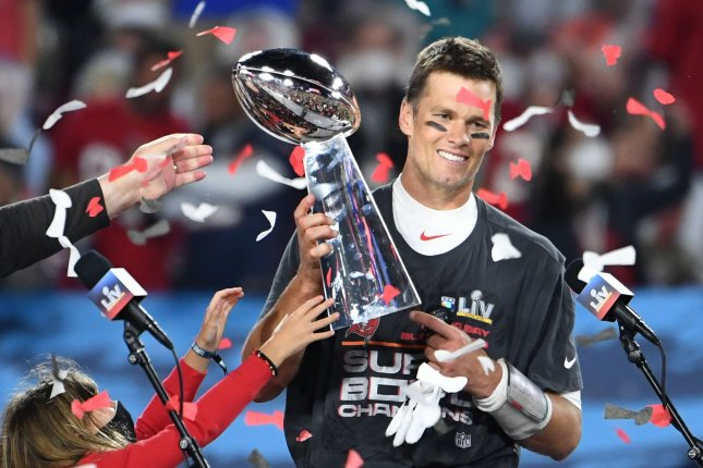Tampa Bay Buccaneers quarterback Tom Brady holds the Vince Lombardi Trophy after the Buccaneers defeated the Kansas City Chiefs 31-9 to win Super Bowl LV on Sunday at Raymond James Stadium in Tampa, Fla. Photo by Kevin Dietsch/UPI
