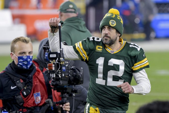 Green Bay Packers quarterback Aaron Rodgers (12), shown Jan. 16, 2021, skipped the team's entire off-season workout program, including mandatory minicamp, amid reports of his displeasure with the organization. File Photo by Mark Black/UPI
