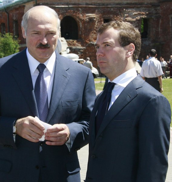 Russian President Dmitry Medvedev (R) and his Belorussian counterpart Alexander Lukashenko visit the Brest Fortress World War II memorial (225 miles) southwest of Minsk, Belarus, on June 22, 2008. This day in 1941, the garrison of the 19-century built fortress in the town of Brest was one of the first Red Army troops to confront the Nazi Germany's Army attack on the Soviet Union in World War II. It held the line for over a month. (UPI Photo/Anatoli Zhdanov)