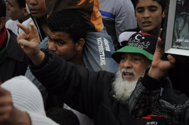 Libyans attend a rally against Libyan leader Muammar Gaddafi in Benghazi, Libya, on April 28, 2011.. UPI\Tarek Alhuony.