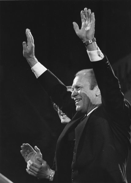 U.S. President Gerald Ford acknowledges a standing ovation during a campaign stop in Keene, N.H., Feb. 19, 1976. A few months later, on Aug. 18, he was nominated in Kansas City, Mo., to head the Republican presidential ticket. UPI File Photo