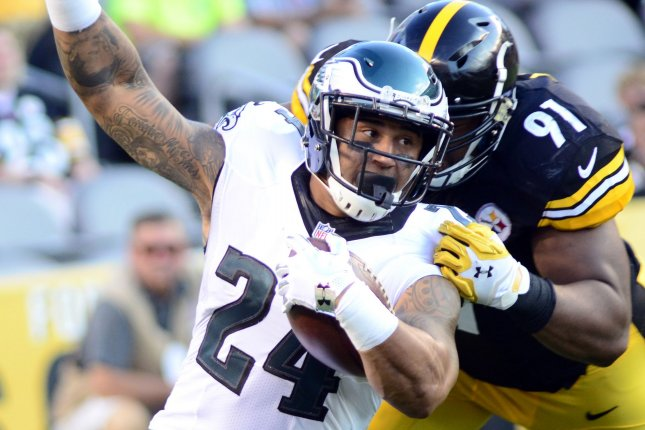 Pittsburgh Steelers defensive end Stephon Tuitt (91) stops former Philadelphia Eagles running back Ryan Mathews (24) for only a yard gaining in the first quarter during the preseason game at Heinz Field on August 18 in Pittsburgh, Pa. Photo by Archie Carpenter/UPI