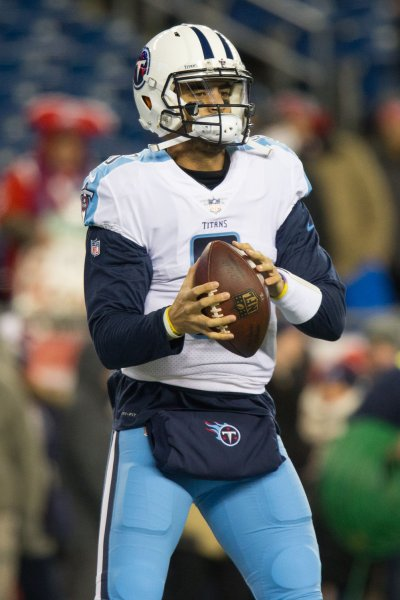 Marcus Mariota and the Tennessee Titans will face the Los Angeles Chargers in London next season. Photo by Matthew Healey/UPI