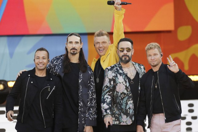 Left to right, Howie D, Kevin Richardson, Nick Carter, AJ McLean and Brian Littrell of the Backstreet Boys. James Corden joins the boy band for his Take A Break segment on The Late Late Show. Photo by John Angelillo/UPI