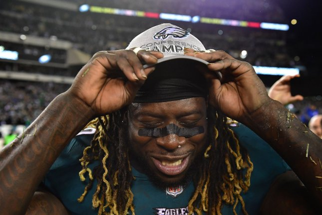 Philadelphia Eagles running back Jay Ajayi celebrates after the Eagles  defeated the Minnesota Vikings 38-7 to win the NFC Championship on January  21 at ... afdd1415e