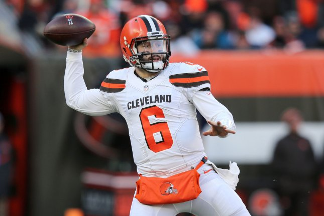 Cleveland Browns quarterback Baker Mayfield throws against the Carolina Panthers in the second half on Sunday at FirstEnergy Stadium in Cleveland. Photo by Aaron Josefczyk/UPI