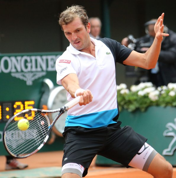 Julien Benneteau, shown at the 2013 French Open, posted a win Saturday that put him into the finals at the Malaysian Open. He'll play Joao Sousa for the title on Sunday. UPI/David Silpa