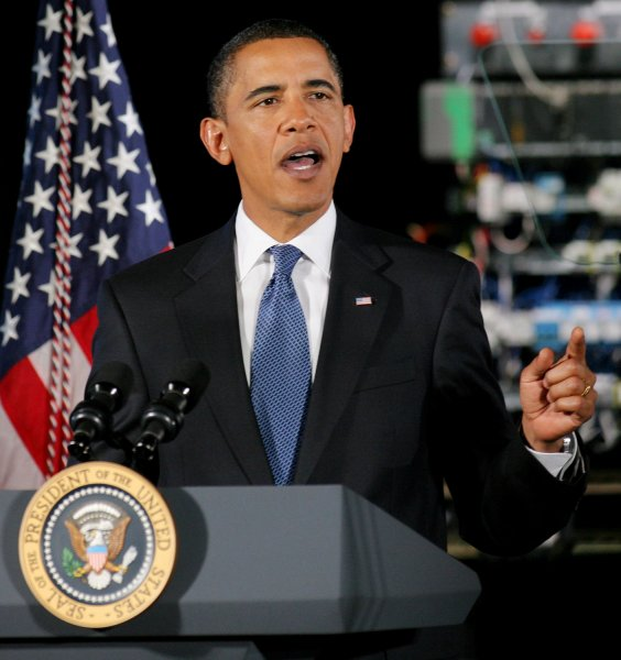 President Barack Obama talks about the economy and investing in technology during his speech at Hudson Valley Community College on September 21, 2009 in Troy, New York. UPI /Monika Graff