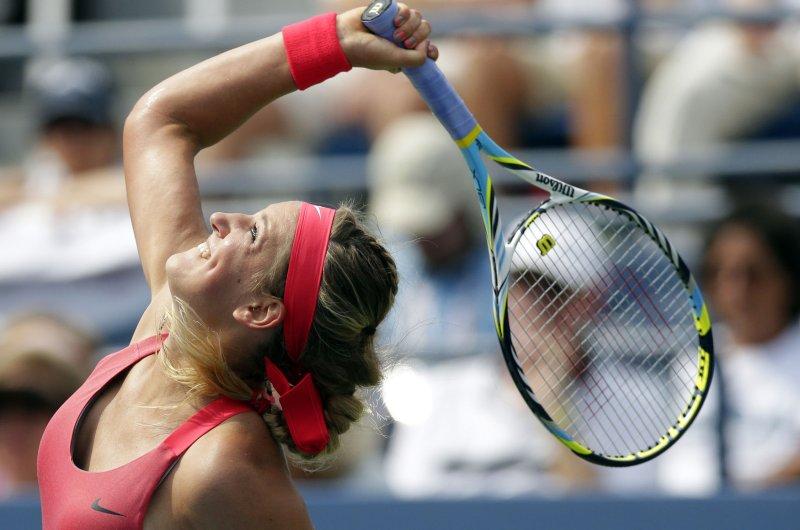 Victoria Azarenka, shown at the 2013 U.S. Open, won in straight sets Tuesday as she seeks to win a third consecutive Australian Open. UPI/John Angelillo