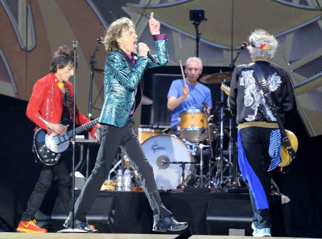 Left to right, Ron Wood, Mick Jagger, Charlie Watts and Keith Richards of The Rolling Stones perform in concert at the Stade de France near Paris on June 13, 2014. They are kicking off a 15-date tour this summer. File Phot by David Silpa/UPI