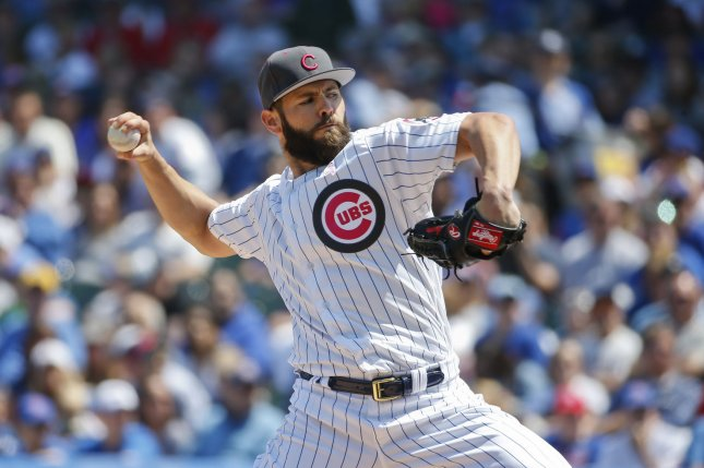 Chicago Cubs ace Jake Arrieta said he is not ready to give a hometown discount to stay with Cubs. Photo by Kamil Krzaczynski/UPI