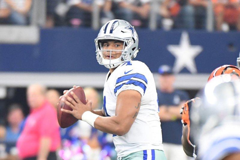 Dallas Cowboys' Dak Prescott looks to throw against the Cincinnati Bengals during the first half at AT&T Stadium in Arlington, Texas on October 6, 2016. Ian Halperin/UPI