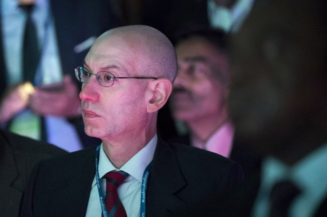 NBA commissioner Adam Silver unveiled futuristic jerseys during the annual All-Star Technology Summit on Friday. File Photo by Drew Angerer/UPI