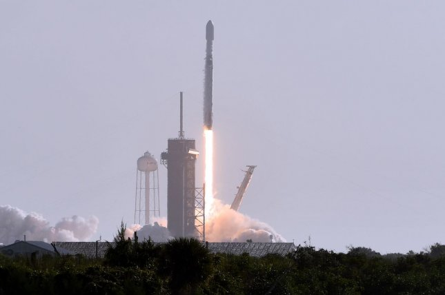 A SpaceX Falcon 9 rocket lifts off Thursday morning from Kennedy Space Center in Florida with60 Starlink satellites headed for low-Earth orbit. Photo by Joe Marino/UPI