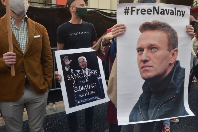 Supporters rally for jailed Russian opposition leader Alexei Navalny during a protest in Los Angeles on February 6. File Photo by Jim Ruymen/UPI