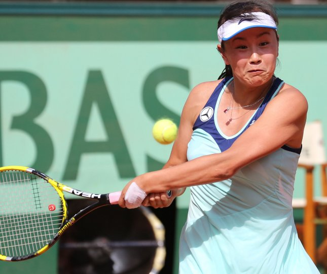 Peng Shuai, shown during the 2012 French Open was among five seeded players to record wins Wednesday at the Guangzhou International Women's Open tennis tournament. UPI/David Silpa
