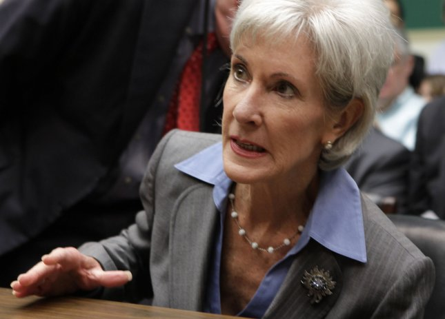 U.S. Health and Human Services Secretary Kathleen Sebelius arrives for a House Energy and Commerce Committee hearing on Capitol Hill Oct. 30, 2013. Sebelius apologized to consumers but said improvements have been made to the Affordable Care Act website and that it would be fixed within a month. UPI/Yuri Gripas.