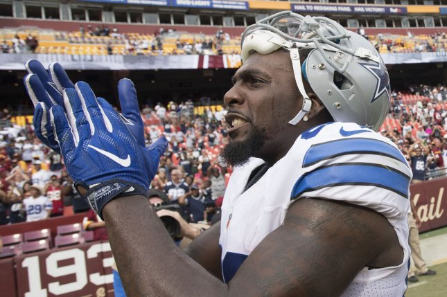Dallas Cowboys wide receiver Dez Bryant (88) leaves the field after the Cowboys defeated the Washington Redskins 27-23 at FedEx Field in Landover, Maryland on September 18, 2016. Photo by Kevin Dietsch/UPI