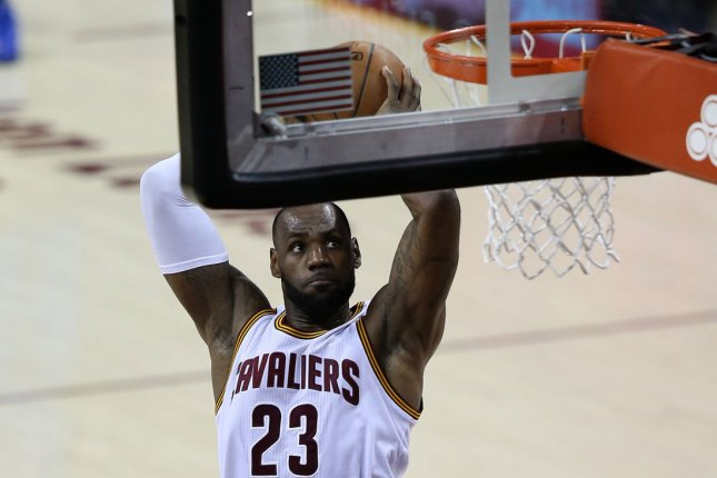 Cleveland Cavaliers' LeBron James dunks. File photo by Aaron Josefczyk/UPI