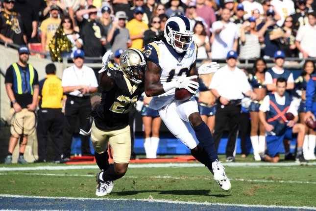 Los Angeles Rams receiver Sammy Watkins scores on a 5-yard pass against the New Orleans Saints during their game in November. Photo by Jon SooHoo/UPI
