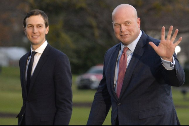White House adviser Jared Kushner (L) walks with acting Attorney General Matthew Whitaker at the White House on December 7. Photo by Mike Theiler/UPI