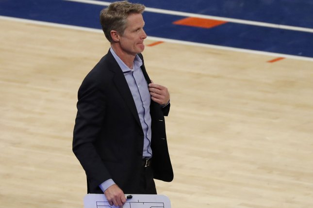 Golden State Warriors head coach Steve Kerr was ejected after arguing a call in the fourth quarter of a loss to the Portland Trail Blazers on Wednesday in Portland. File Photo by John Angelillo/UPI