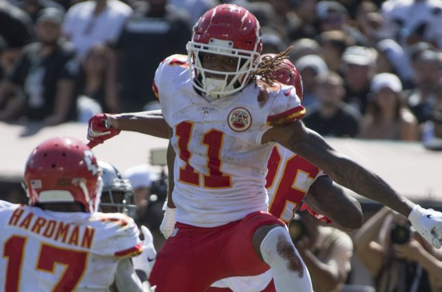 Kansas City Chiefs wide receiver Demarcus Robinson (11) had a breakout game in Week 2, catching six passes for 172 yards and two touchdowns against the Oakland Raiders. Photo by Terry Schmitt/UPI