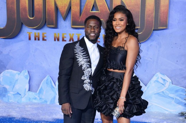Kevin Hart (L) and Eniko Parrish attend the Los Angeles premiere of Jumanji: The next Level on Monday. Photo by Jim Ruymen/UPI