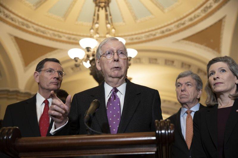 U.S. Senate Republican leader Mitch McConnell talks are ongoing between the Senate, House and President Donald Trump on coronavirus legislation. Photo by Tasos Katopodis/UPI