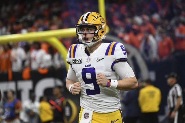 Joe Burrow will join veteran quarterback Andy Dalton on the Cincinnati Bengals' roster after being selected as the No. 1 overall pick in the 2020 NFL Draft. File Photo by Pat Benic/UPI