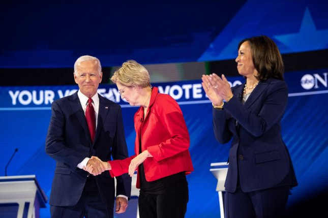 Sens. Elizabeth Warren of Massachusetts (L) and Kamala Harris of California, seen here with Biden at a Democratic primary debate in Houston on September 12, 2019, have been mentioned as possible vice presidential candidates who could join the party's 2020 ticket. File Photo by Kevin Dietsch/UPI