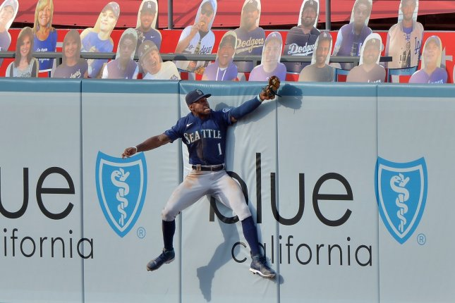 Seattle Mariners center fielder Kyle Lewis hit .262 with 11 home runs and 28 RBIs in 58 games last season. File Photo by Jim Ruymen/UPI
