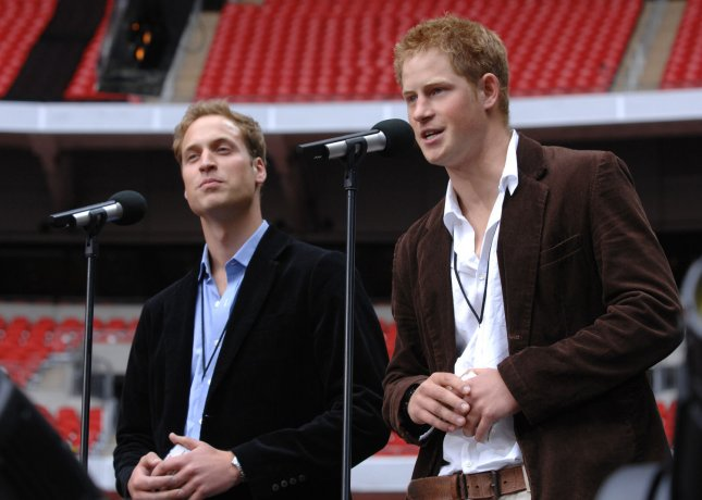 Princess Diana's sons Prince William (L) and Prince Harry attend The Concert For Diana at Wembley Stadium in London on July 1, 2007. (UPI Photo/Rune Hellestad)