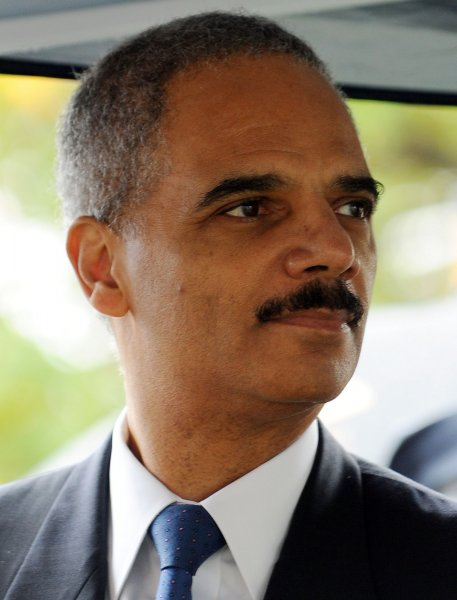 Attorney General Eric Holder participates in a ground breaking on the National Law Enforcement Officers Memorial Museum in Washington on October 14, 2010. UPI/Roger L. Wollenberg