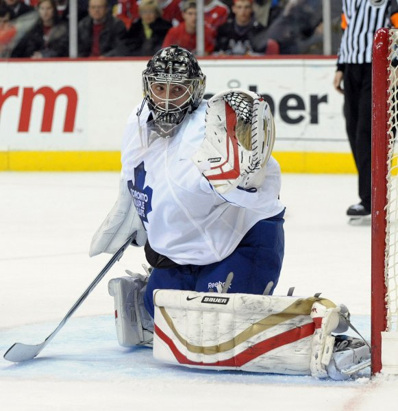 Toronto Maple Leafs goalie Martin Gerber of Switzerland watches a puck sail past against the Washington Capitals in the third period at the Verizon Center in Washington on March 5, 2009. (UPI Photo/Roger L. Wollenberg)