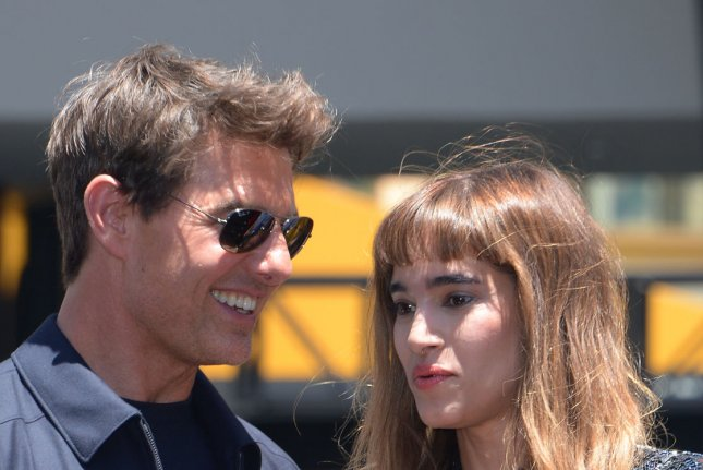 Cast members Tom Cruise and Sofia Boutella attend The Mummy photo-op as a 75-foot, 7-ton sarcophagus in Los Angeles on May 20. Cruise is revealing more details about his upcoming Top Gun sequel. Photo by Jim Ruymen/UPI