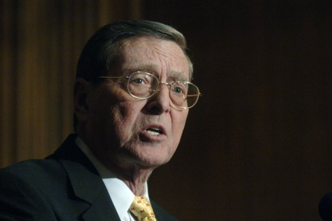 Pete Domenici of New Mexico speaks in Washington, D.C., on March 5, 2007, one year before he retired from the U.S. Senate. He died Wednesday. File Photo by Kevin Dietsch/UPI