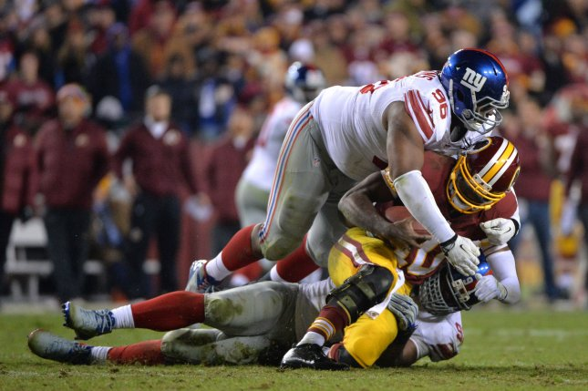 Former New York Giants defensive tackle Johnathan Hankins (96). File photo by Kevin Dietsch/UPI