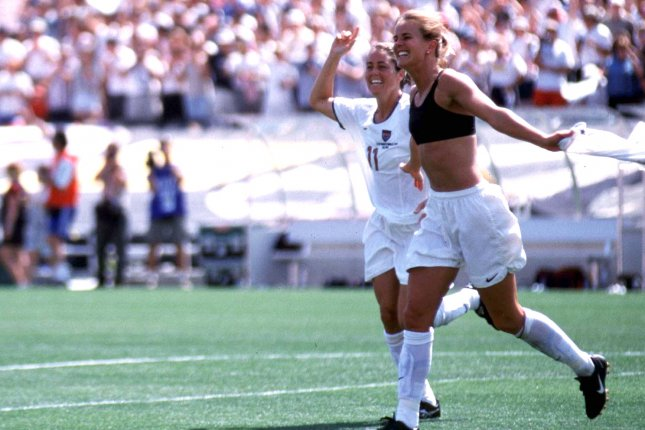 U.S. women's soccer star Brandi Chastain celebrates shirtless with Judy Foudy after the U.S. beat China in the 1999 FIFA Women's World Cup Final at the Rose Bowl in Pasadena, Calif. File photo by Jon SooHoo/UPI.