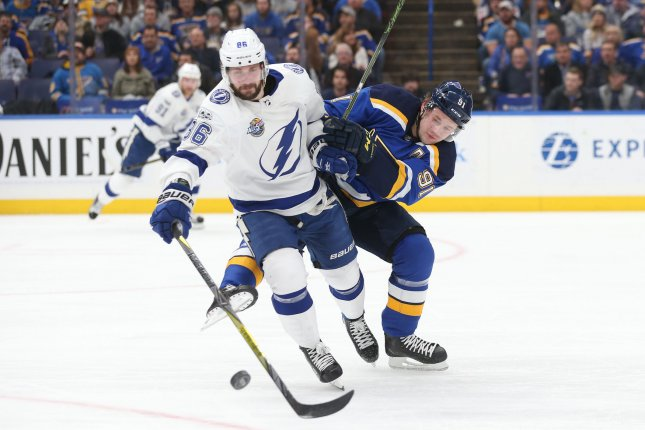 Tampa Bay Lightning forward Nikita Kucherov (L) had 128 points (41 goals, 87 assists) and secured his first Hart Trophy. File Photo by Bill Greenblatt/UPI
