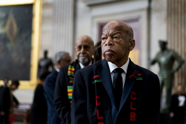 Rep. John Lewis, D-Ga., prepares to pay his respects to Rep. Elijah Cummings during a memorial ceremony on Capitol Hill in Washington, D.C., on October 24. Lewis turns 80 on February 21. File Photo by Melina Mara/UPI