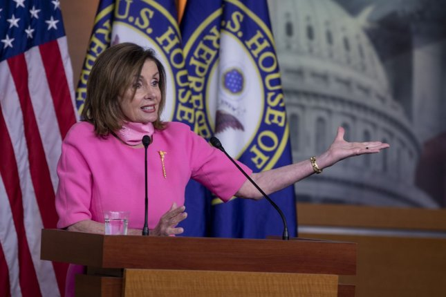 Speaker of the House Nancy Pelosi, D-Calif., speaks during her weekly news conference at U.S Capitol on Thursday. Photo by Tasos Katopodis/UPI